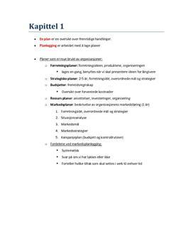 Kap 1, 2 og 3 | Markedsføring og ledelse 2