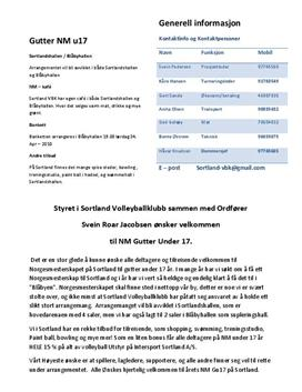 Treningsledelse av arrangement U17-NM i volleyball