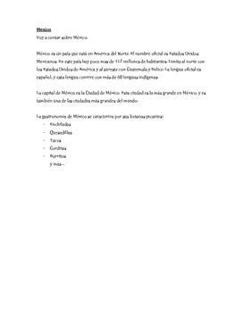Oppgave om Mexico på spansk