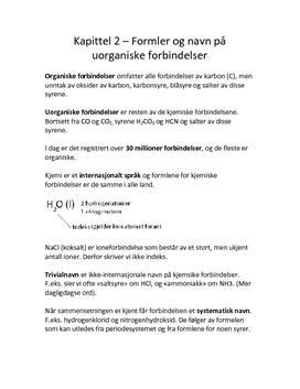 Notater til kapittel 2 - Formler og navn på uorganiske forbindelser