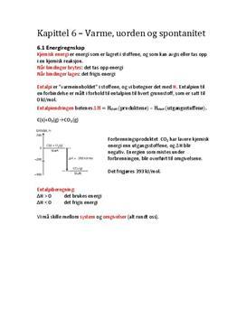 Notater til kapittel 6 - Varme, uorden og spontanitet