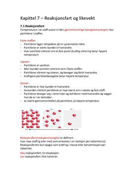 Notater til kapittel 7 - Reaksjonsfart og likevekt