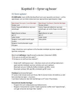 Notater til kapittel 8 - Syrer og baser