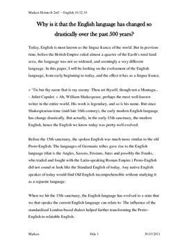 The English language evolving - essay