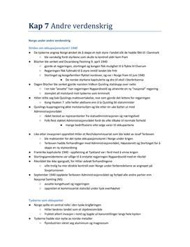Notater til kapittel 7 og 8 historie vg3