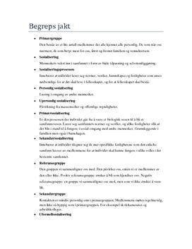 Begreper kapittel 2 | Sosiologi og sosialantropologi