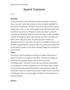 El Diario de Ana   Skriftlig tentamen   Spansk 2