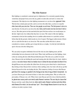 Analysis of The Kite Runner | English Essay
