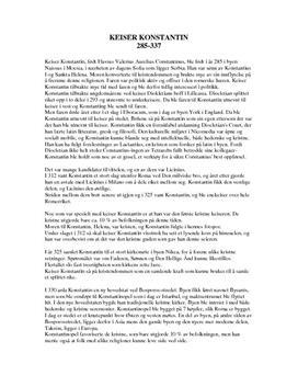 Keiser Konstantin - historisk person - Studienett.no