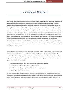 Mellomkrigstidens ideologier - Fascisme og Nazisme