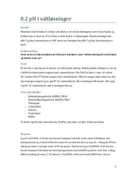 Forsøk 8.2 pH i saltløsninger | Rapport
