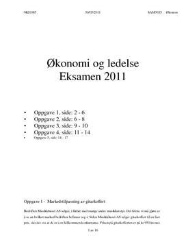 Musikkhuset AS | Eksamen i Økonomi og ledelse | 2011