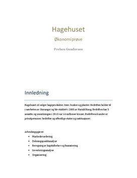 Hagehuset AS | Økonomiprøve | Økonomi og Ledelse