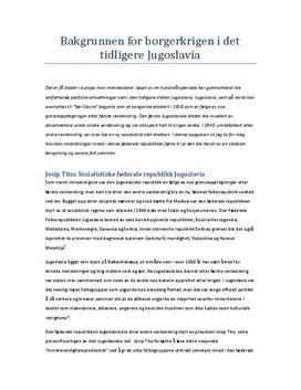 Bakgrunnen for borgerkrigen i det tidligere Jugoslavia