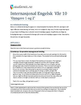 Internasjonal engelsk vår 2010 eksamen Oppgave 1 + 2