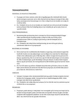 Treningsprinsipper | Sammendrag