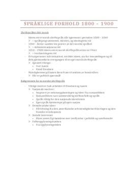 Språket i Norge på 1800-tallet   Sammendrag