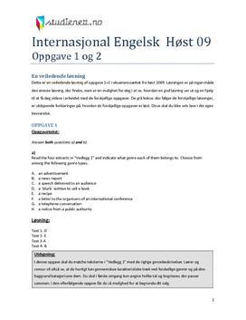 Internasjonal engelsk høst 2009 eksamen Oppgave 1 + 2