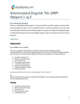Internasjonal engelsk vår 2009 eksamen Oppgave 1 + 2