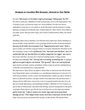 """Analyse av novellen """"Blå Amason"""" av Gro Dahle"""