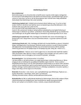Lokalisering og råvarer Notater kapittel 8