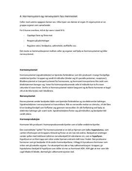 Sammendrag kap 4: Hormonsystem og nervesystem hos mennesker