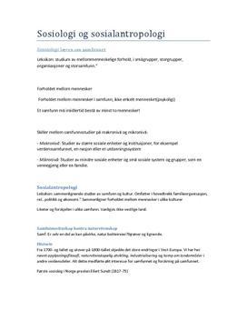 Sammendrag | Sosiologi og sosialantropologi