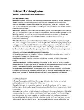 Kommunikasjon og massemedier | Notater kap 2