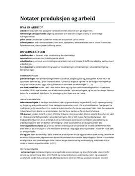 Produksjon og arbeid | Ordbeskrivelser