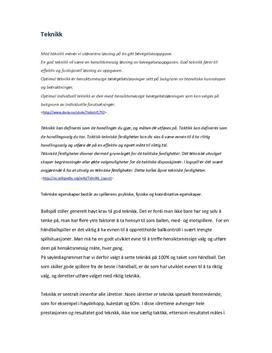 Teknikk og taktikk i håndball | Arbeidskravsanalyse