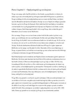 Prøve i kapittel 1 – Opplysningstid og revolusjoner