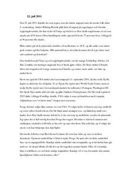 Leserinnlegg 22. juli 2011