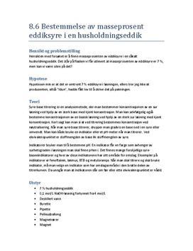 Forsøk 8.6 Bestemmelse av masseprosent eddiksyre i en husholdningseddik | Rapport