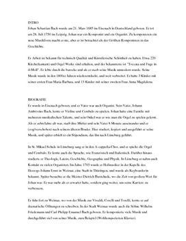 Johan Sebastian Bach muntlig tysk eksamen