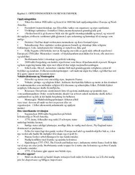 Opplysningstiden og revolusjoner Historie | Notater