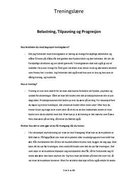 Progresjon, tilpasning og belastning i håndball   Sammendrag
