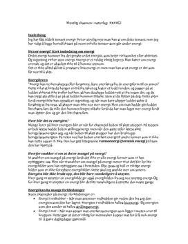 Muntlig eksamen i naturfag:  Energi
