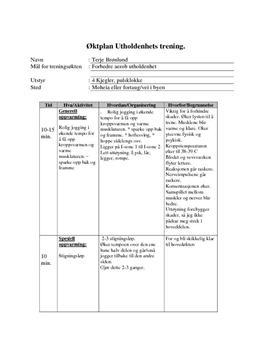 Øktplan for aerob utholdenhetstrening