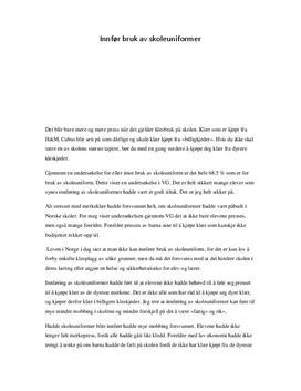Leserinnlegg: Innfør bruk av skoleuniformer