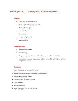 Prosedyre for mottak av pasient