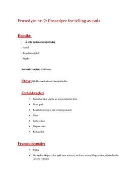 Prosedyre for telling av puls - Helsesekretær