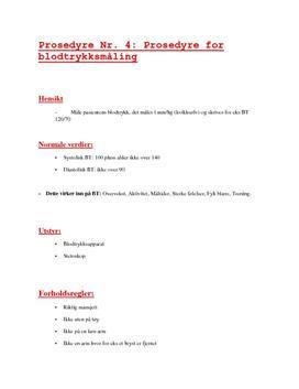 Prosedyre for Blodtrykksmåling - Helsesekretær