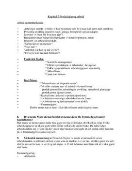 Produksjon og arbeid | Notater