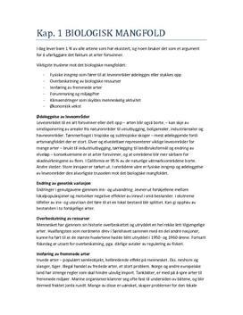 Biologisk mangfold Sammendrag av kapittel 1