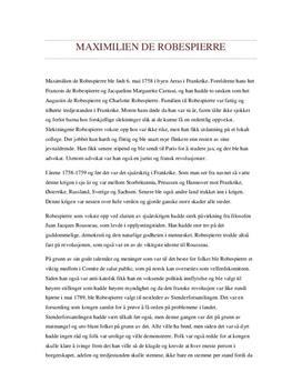 Maximilien de Robespierre - historisk person - Studienett.no