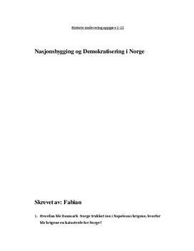 Nasjonsbygging og Demokratisering i Norge
