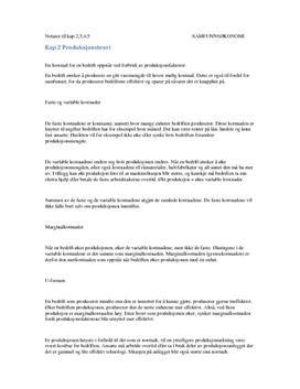 ''Samfunnsøkonomi 2'' notater kap 2, 3, 4, 5