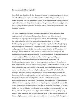 Det politiske systemet i Norge og regjeringsalternativer