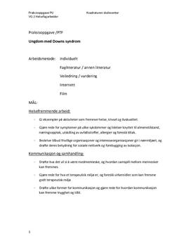 Praksisoppgave Psykisk Utviklingshemmede (Downs syndrom)