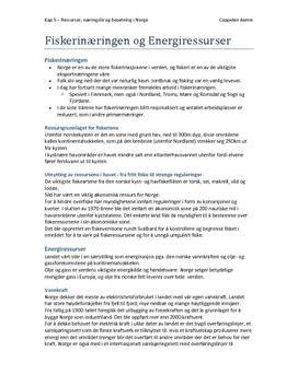 Notater kap. 5: Ressurser, næringsliv og bosetning i Norge